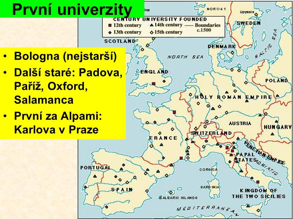 Bologna (nejstarší) Další staré: Padova, Paříž, Oxford, Salamanca První za Alpami: Karlova v Praze První univerzity