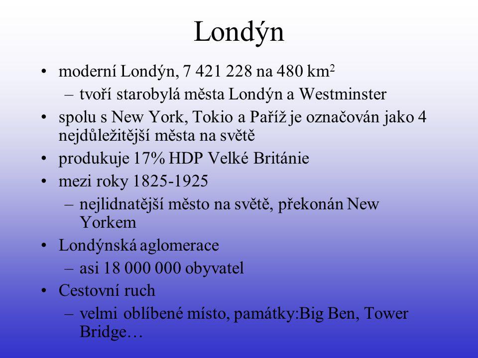 Londýn moderní Londýn, 7 421 228 na 480 km 2 –tvoří starobylá města Londýn a Westminster spolu s New York, Tokio a Paříž je označován jako 4 nejdůležitější města na světě produkuje 17% HDP Velké Británie mezi roky 1825-1925 –nejlidnatější město na světě, překonán New Yorkem Londýnská aglomerace –asi 18 000 000 obyvatel Cestovní ruch –velmi oblíbené místo, památky:Big Ben, Tower Bridge…