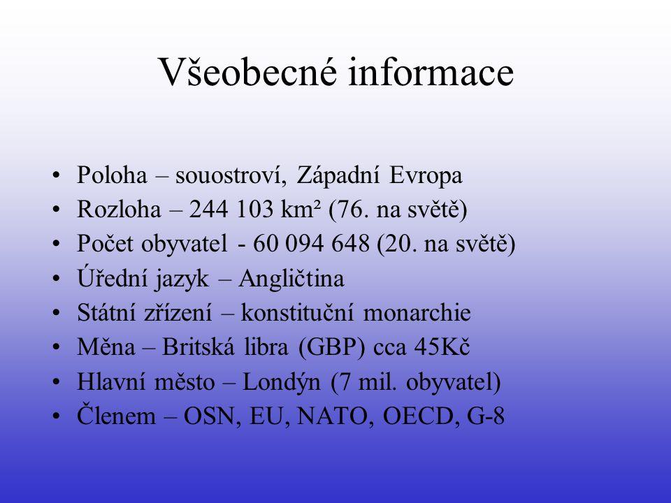 Všeobecné informace Poloha – souostroví, Západní Evropa Rozloha – 244 103 km² (76. na světě) Počet obyvatel - 60 094 648 (20. na světě) Úřední jazyk –