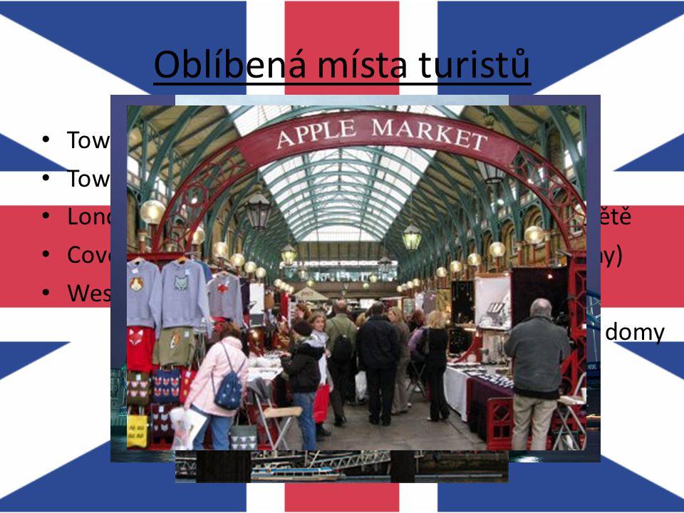 Zajímavá náměstí a ulice Leicester Square Trafalgar Square Picadilly Circus Downing Street – budovy vládních představitelů Oxford Street – obchodní ulice (548 obchodů)