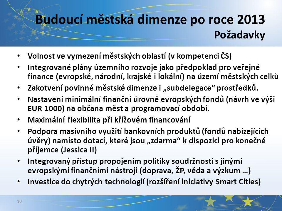 """10 Budoucí městská dimenze po roce 2013 Požadavky Volnost ve vymezení městských oblastí (v kompetenci ČS) Integrované plány územního rozvoje jako předpoklad pro veřejné finance (evropské, národní, krajské i lokální) na území městských celků Zakotvení povinné městské dimenze i """"subdelegace prostředků."""