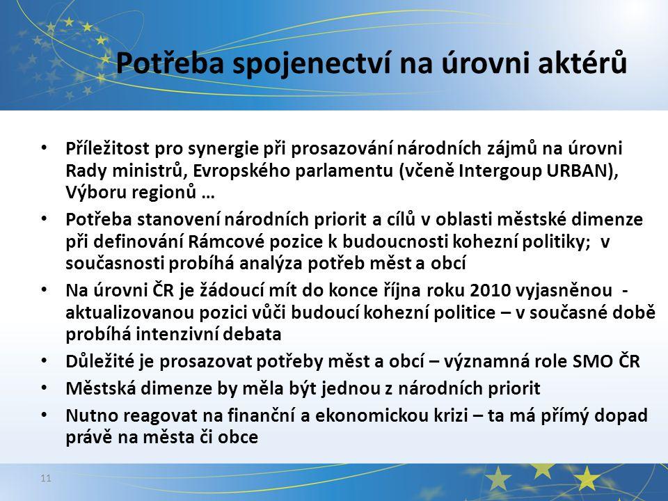 11 Potřeba spojenectví na úrovni aktérů Příležitost pro synergie při prosazování národních zájmů na úrovni Rady ministrů, Evropského parlamentu (včeně Intergoup URBAN), Výboru regionů … Potřeba stanovení národních priorit a cílů v oblasti městské dimenze při definování Rámcové pozice k budoucnosti kohezní politiky; v současnosti probíhá analýza potřeb měst a obcí Na úrovni ČR je žádoucí mít do konce října roku 2010 vyjasněnou - aktualizovanou pozici vůči budoucí kohezní politice – v současné době probíhá intenzivní debata Důležité je prosazovat potřeby měst a obcí – významná role SMO ČR Městská dimenze by měla být jednou z národních priorit Nutno reagovat na finanční a ekonomickou krizi – ta má přímý dopad právě na města či obce