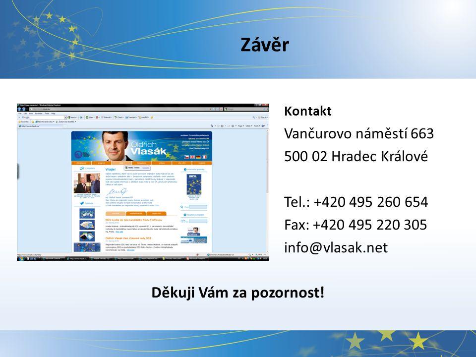 Závěr Kontakt Vančurovo náměstí 663 500 02 Hradec Králové Tel.: +420 495 260 654 Fax: +420 495 220 305 info@vlasak.net Děkuji Vám za pozornost!