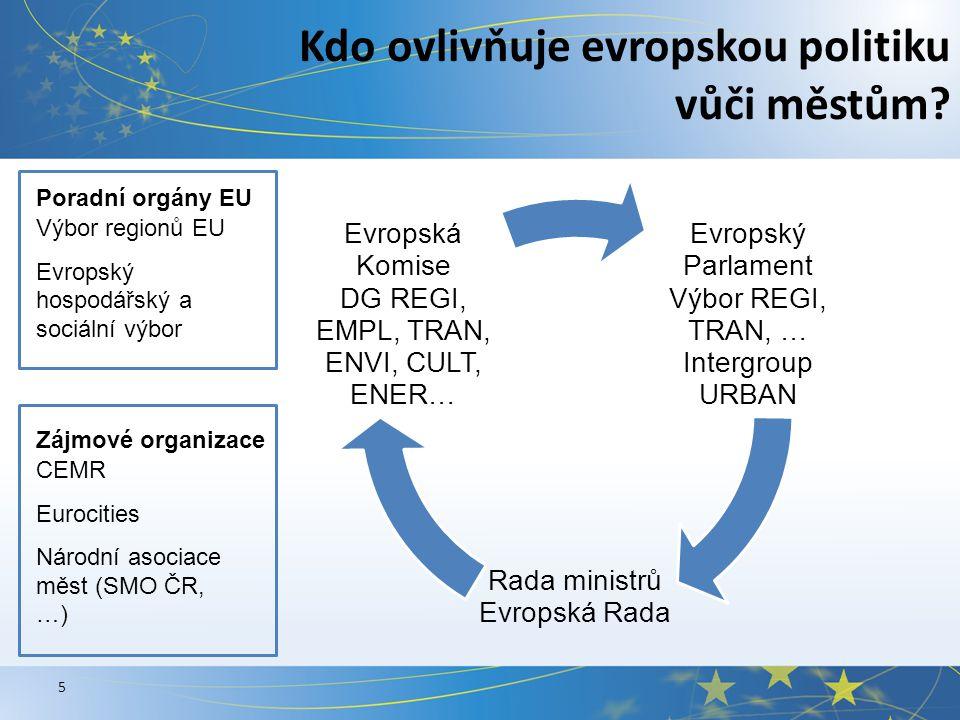 5 Kdo ovlivňuje evropskou politiku vůči městům.