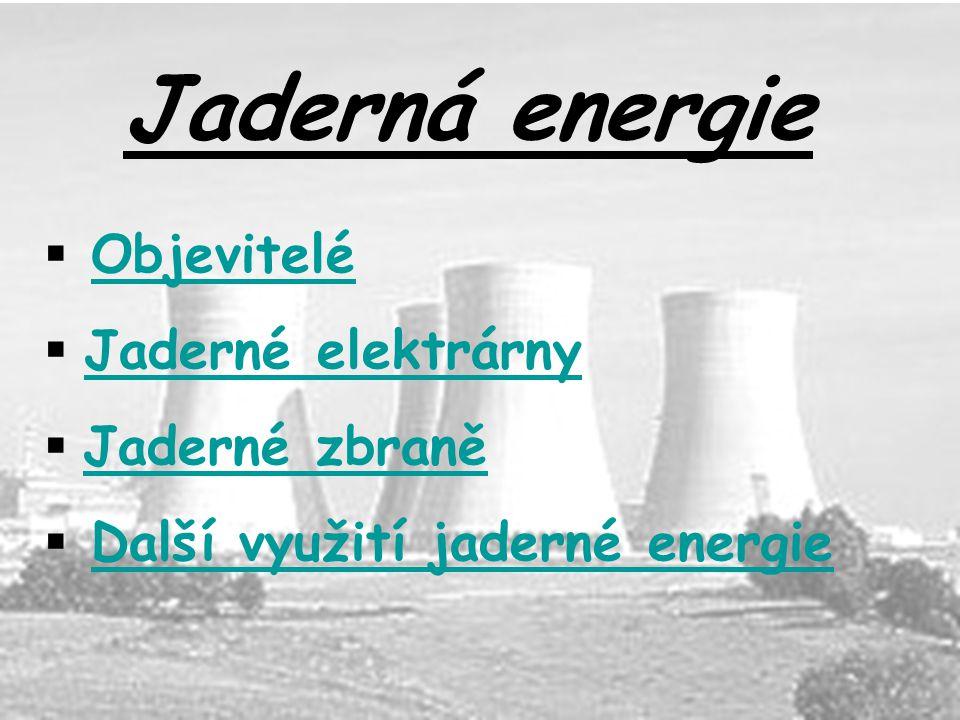 Jaderná energie  ObjeviteléObjevitelé  Jaderné elektrárnyJaderné elektrárny  Jaderné zbraně Jaderné zbraně  Další využití jaderné energieDalší využití jaderné energie