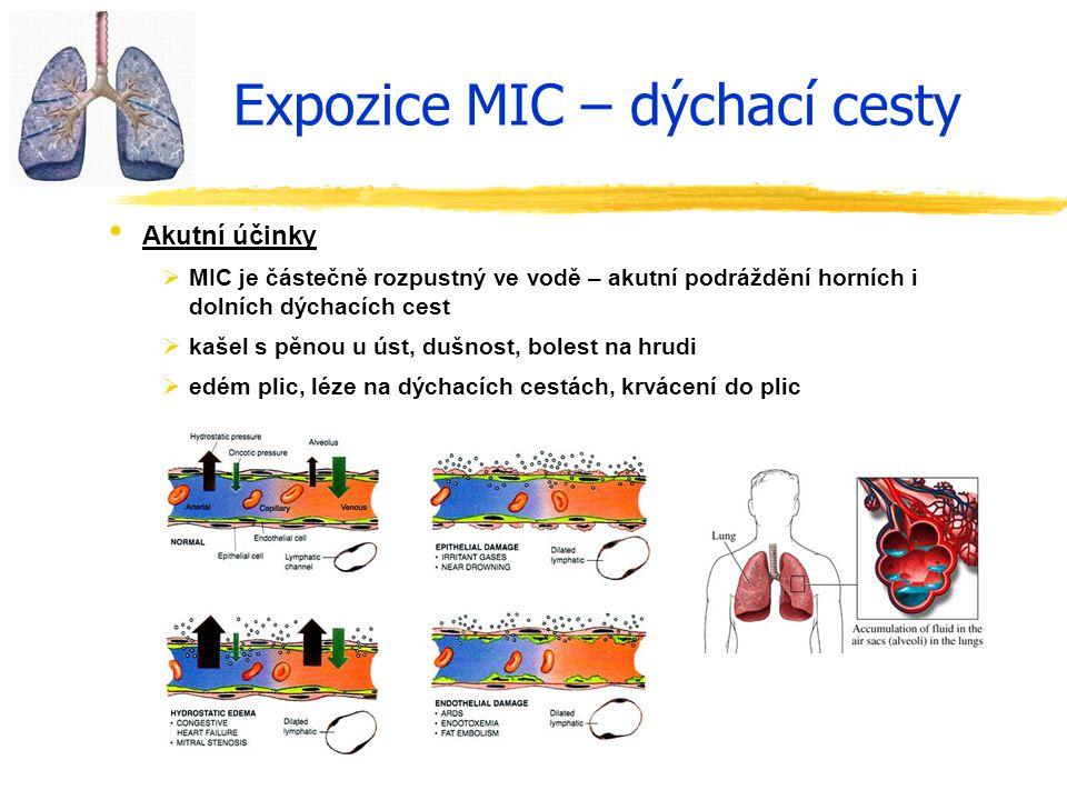 Expozice MIC – dýchací cesty Akutní účinky  MIC je částečně rozpustný ve vodě – akutní podráždění horních i dolních dýchacích cest  kašel s pěnou u