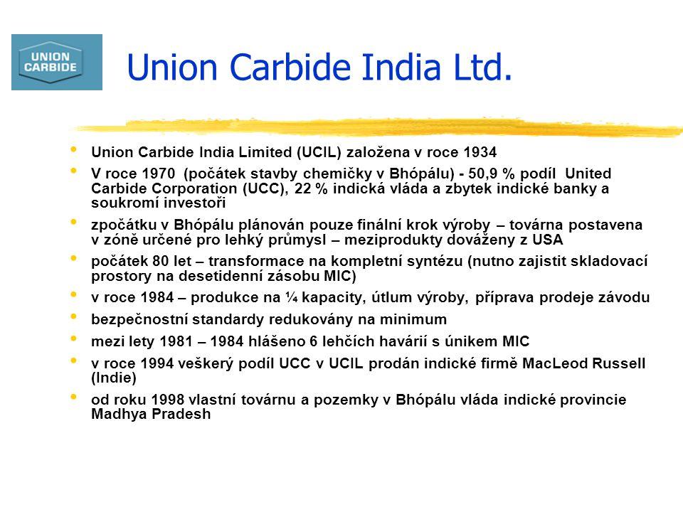 Union Carbide India Ltd. Union Carbide India Limited (UCIL) založena v roce 1934 V roce 1970 (počátek stavby chemičky v Bhópálu) - 50,9 % podíl United