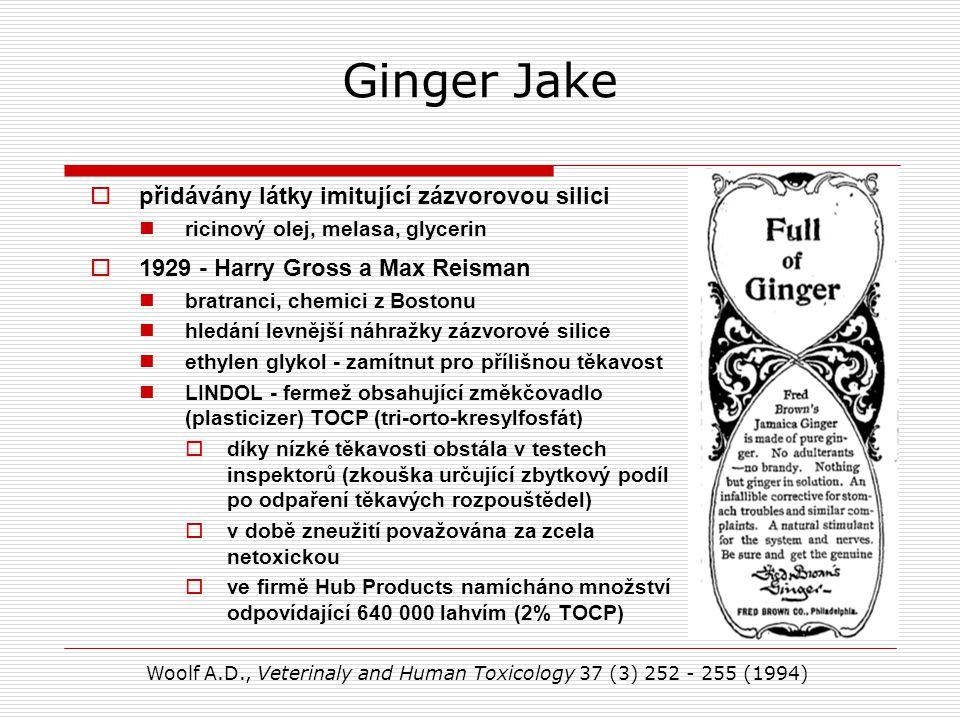 Ginger Jake  přidávány látky imitující zázvorovou silici ricinový olej, melasa, glycerin  1929 - Harry Gross a Max Reisman bratranci, chemici z Bostonu hledání levnější náhražky zázvorové silice ethylen glykol - zamítnut pro přílišnou těkavost LINDOL - fermež obsahující změkčovadlo (plasticizer) TOCP (tri-orto-kresylfosfát)  díky nízké těkavosti obstála v testech inspektorů (zkouška určující zbytkový podíl po odpaření těkavých rozpouštědel)  v době zneužití považována za zcela netoxickou  ve firmě Hub Products namícháno množství odpovídající 640 000 lahvím (2% TOCP) Woolf A.D., Veterinaly and Human Toxicology 37 (3) 252 - 255 (1994)