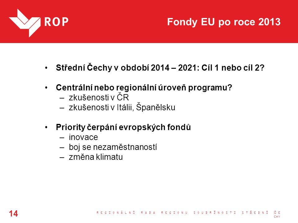 Fondy EU po roce 2013 Střední Čechy v období 2014 – 2021: Cíl 1 nebo cíl 2? Centrální nebo regionální úroveň programu? –zkušenosti v ČR –zkušenosti v
