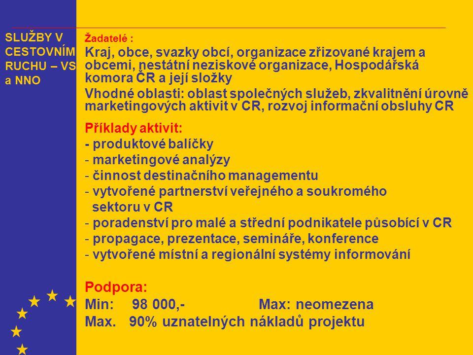 Žadatelé : Kraj, obce, svazky obcí, organizace zřizované krajem a obcemi, nestátní neziskové organizace, Hospodářská komora ČR a její složky Vhodné oblasti: oblast společných služeb, zkvalitnění úrovně marketingových aktivit v CR, rozvoj informační obsluhy CR Příklady aktivit: - produktové balíčky - marketingové analýzy - činnost destinačního managementu - vytvořené partnerství veřejného a soukromého sektoru v CR - poradenství pro malé a střední podnikatele působící v CR - propagace, prezentace, semináře, konference - vytvořené místní a regionální systémy informování Podpora: Min:98 000,- Max: neomezena Max.