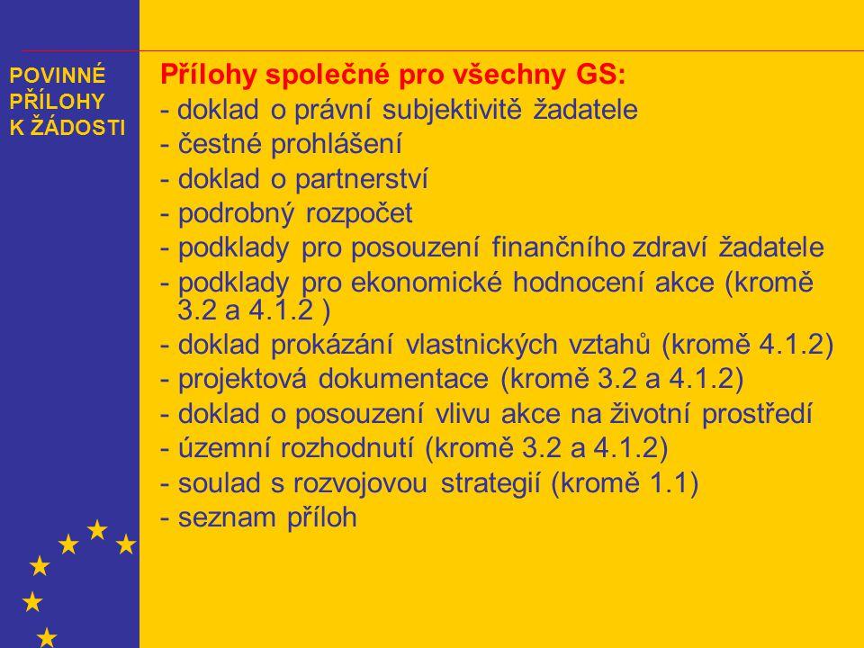 POVINNÉ PŘÍLOHY K ŽÁDOSTI Přílohy společné pro všechny GS: - doklad o právní subjektivitě žadatele - čestné prohlášení - doklad o partnerství - podrobný rozpočet - podklady pro posouzení finančního zdraví žadatele - podklady pro ekonomické hodnocení akce (kromě 3.2 a 4.1.2 ) - doklad prokázání vlastnických vztahů (kromě 4.1.2) - projektová dokumentace (kromě 3.2 a 4.1.2) - doklad o posouzení vlivu akce na životní prostředí - územní rozhodnutí (kromě 3.2 a 4.1.2) - soulad s rozvojovou strategií (kromě 1.1) - seznam příloh