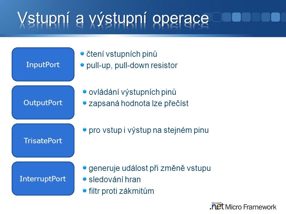 OutputPort InputPort TrisatePort InterruptPort čtení vstupních pinů pull-up, pull-down resistor pro vstup i výstup na stejném pinu ovládání výstupních pinů zapsaná hodnota lze přečíst generuje událost při změně vstupu sledování hran filtr proti zákmitům