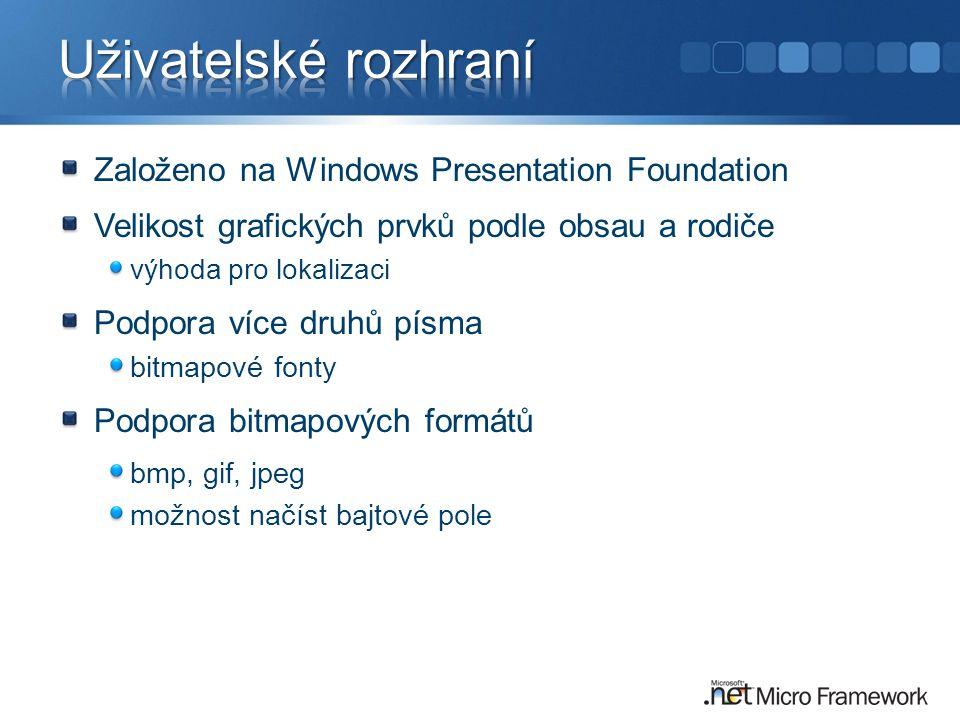 Založeno na Windows Presentation Foundation Velikost grafických prvků podle obsau a rodiče výhoda pro lokalizaci Podpora více druhů písma bitmapové fonty Podpora bitmapových formátů bmp, gif, jpeg možnost načíst bajtové pole