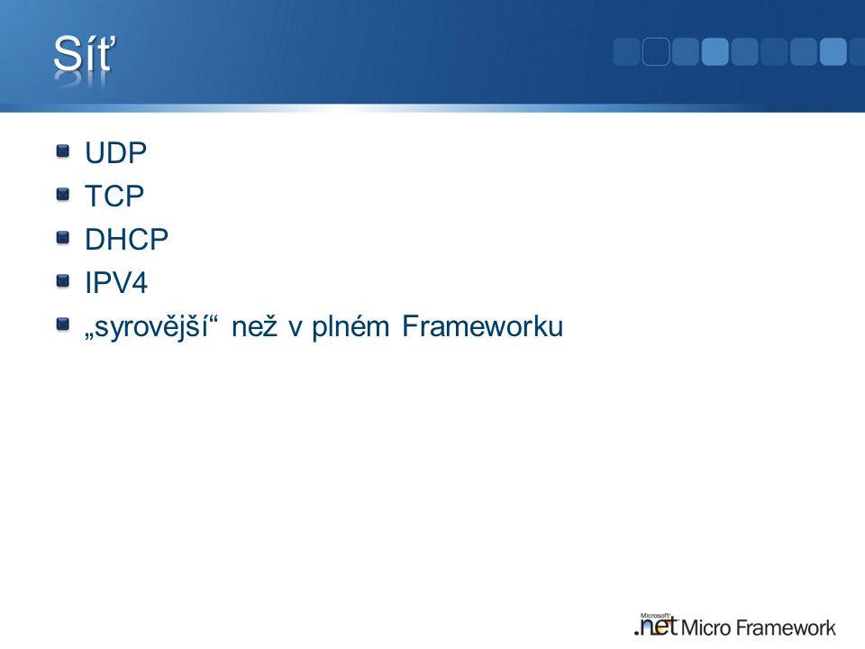 """UDP TCP DHCP IPV4 """"syrovější než v plném Frameworku"""