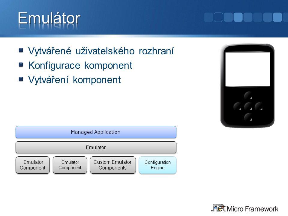 Vytvářené uživatelského rozhraní Konfigurace komponent Vytváření komponent Managed Application Emulator Emulator Component Custom Emulator Components