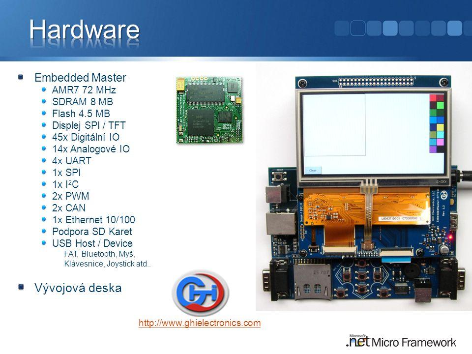 Embedded Master AMR7 72 MHz SDRAM 8 MB Flash 4.5 MB Displej SPI / TFT 45x Digitální IO 14x Analogové IO 4x UART 1x SPI 1x I 2 C 2x PWM 2x CAN 1x Ethernet 10/100 Podpora SD Karet USB Host / Device FAT, Bluetooth, Myš, Klávesnice, Joystick atd..