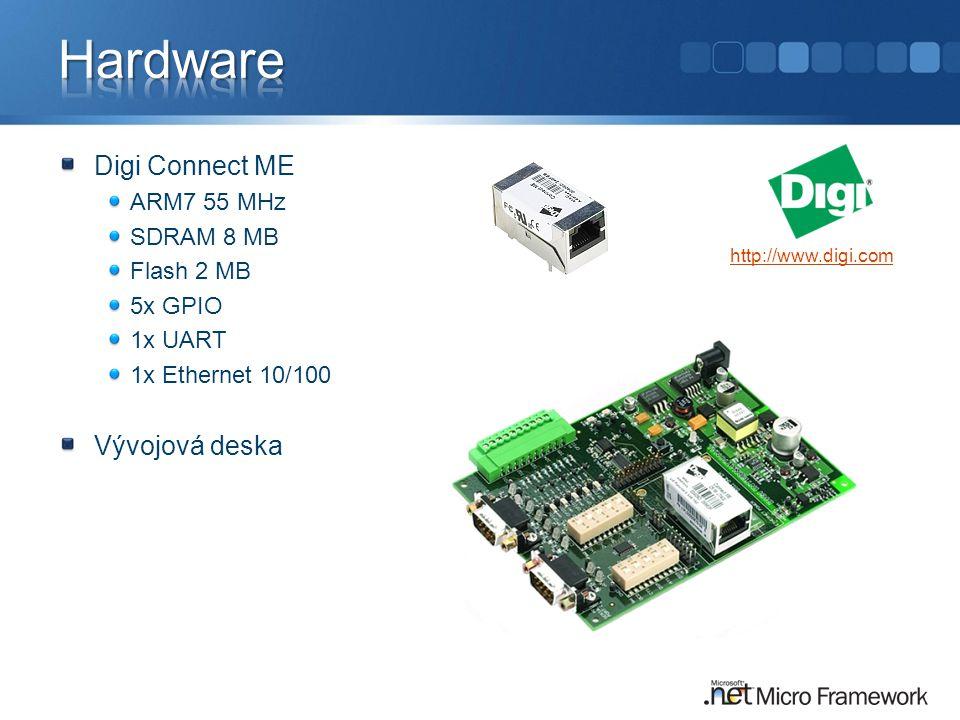 Digi Connect ME ARM7 55 MHz SDRAM 8 MB Flash 2 MB 5x GPIO 1x UART 1x Ethernet 10/100 Vývojová deska http://www.digi.com