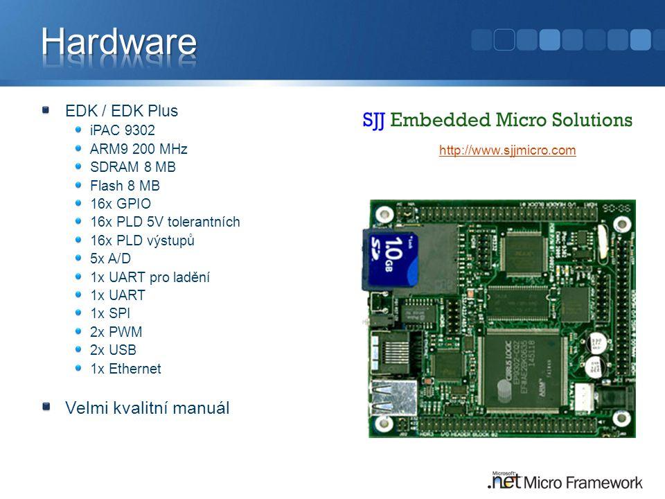 EDK / EDK Plus iPAC 9302 ARM9 200 MHz SDRAM 8 MB Flash 8 MB 16x GPIO 16x PLD 5V tolerantních 16x PLD výstupů 5x A/D 1x UART pro ladění 1x UART 1x SPI