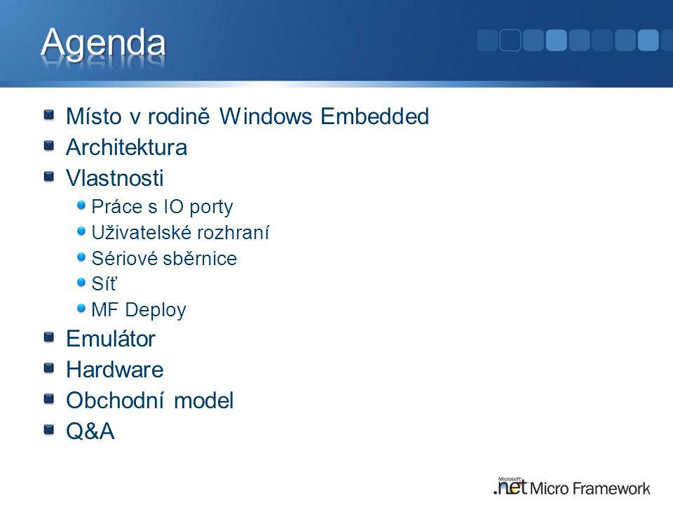 Místo v rodině Windows Embedded Architektura Vlastnosti Práce s IO porty Uživatelské rozhraní Sériové sběrnice Síť MF Deploy Emulátor Hardware Obchodní model Q&A