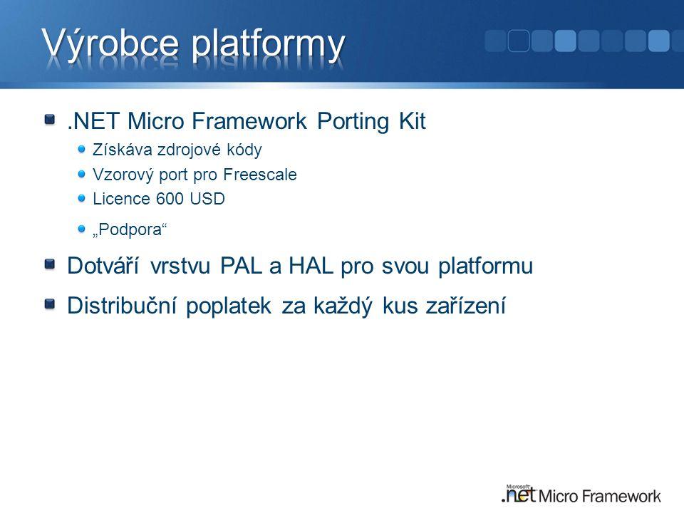 """.NET Micro Framework Porting Kit Získáva zdrojové kódy Vzorový port pro Freescale Licence 600 USD """"Podpora Dotváří vrstvu PAL a HAL pro svou platformu Distribuční poplatek za každý kus zařízení"""