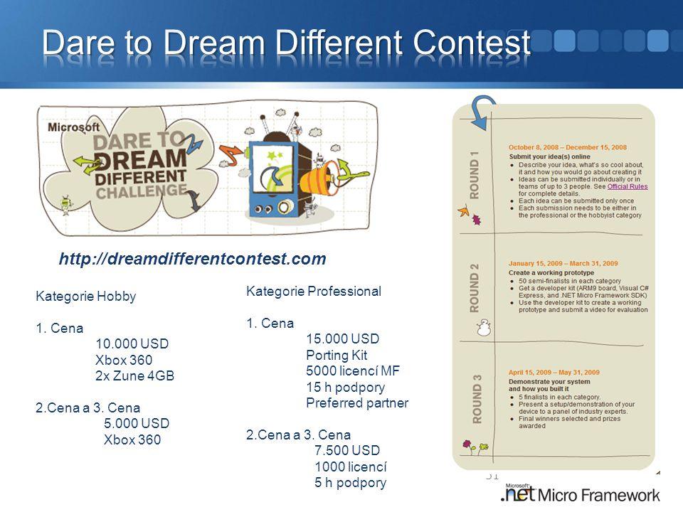 51 http://dreamdifferentcontest.com Kategorie Hobby 1. Cena 10.000 USD Xbox 360 2x Zune 4GB 2.Cena a 3. Cena 5.000 USD Xbox 360 Kategorie Professional