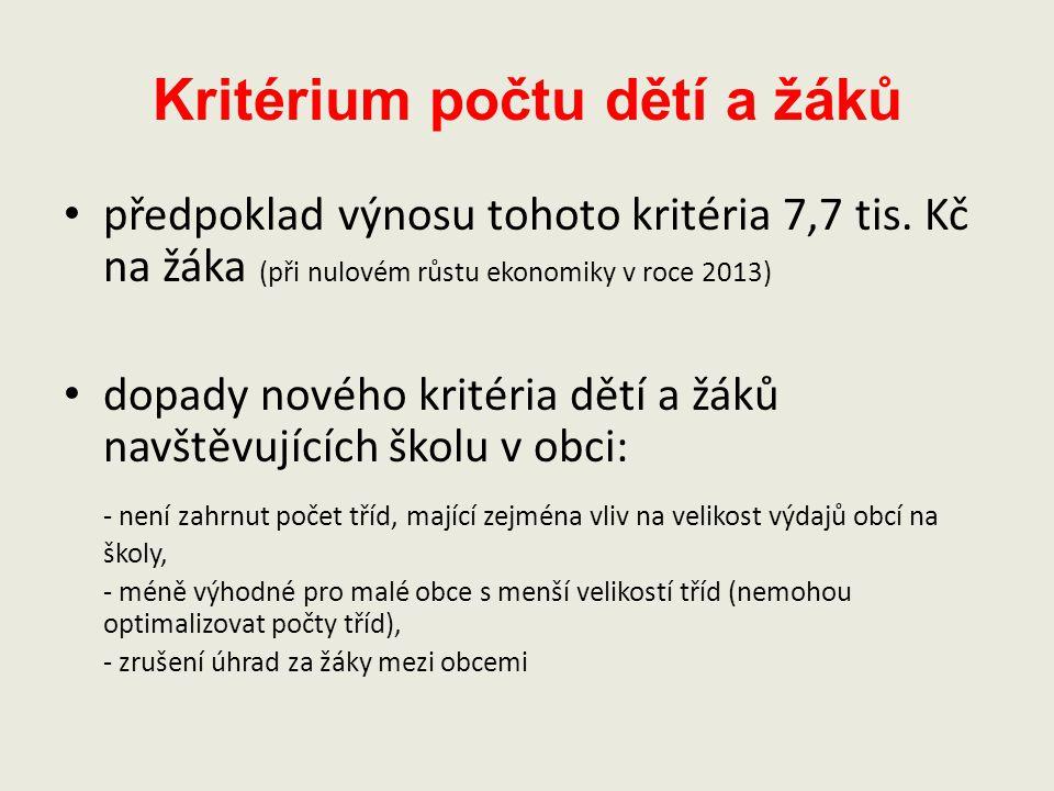 Kritérium počtu dětí a žáků předpoklad výnosu tohoto kritéria 7,7 tis. Kč na žáka (při nulovém růstu ekonomiky v roce 2013) dopady nového kritéria dět
