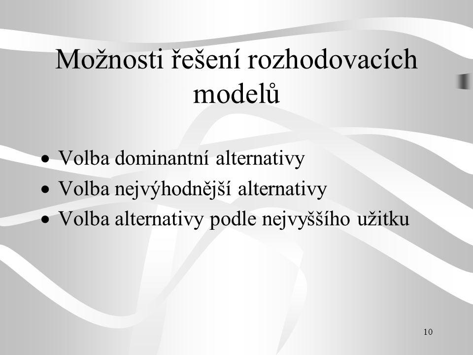 10 Možnosti řešení rozhodovacích modelů  Volba dominantní alternativy  Volba nejvýhodnější alternativy  Volba alternativy podle nejvyššího užitku