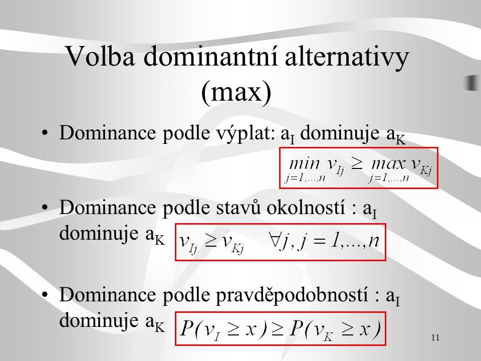 11 Volba dominantní alternativy (max) Dominance podle výplat: a I dominuje a K Dominance podle stavů okolností : a I dominuje a K Dominance podle prav