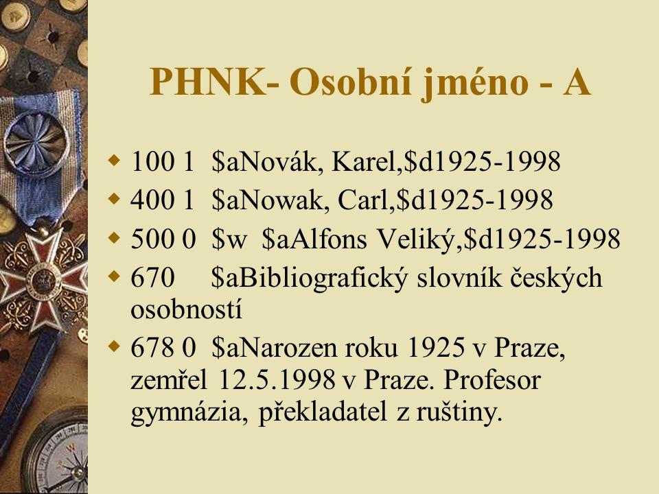 PHNK- Osobní jméno - A  100 1 $aNovák, Karel,$d1925-1998  400 1 $aNowak, Carl,$d1925-1998  500 0 $w $aAlfons Veliký,$d1925-1998  670 $aBibliografický slovník českých osobností  678 0 $aNarozen roku 1925 v Praze, zemřel 12.5.1998 v Praze.