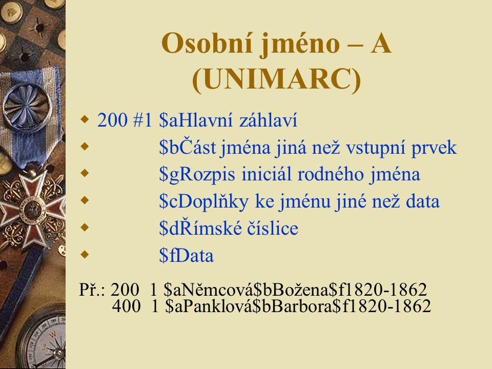 Osobní jméno – A (UNIMARC)  200 #1 $aHlavní záhlaví  $bČást jména jiná než vstupní prvek  $gRozpis iniciál rodného jména  $cDoplňky ke jménu jiné