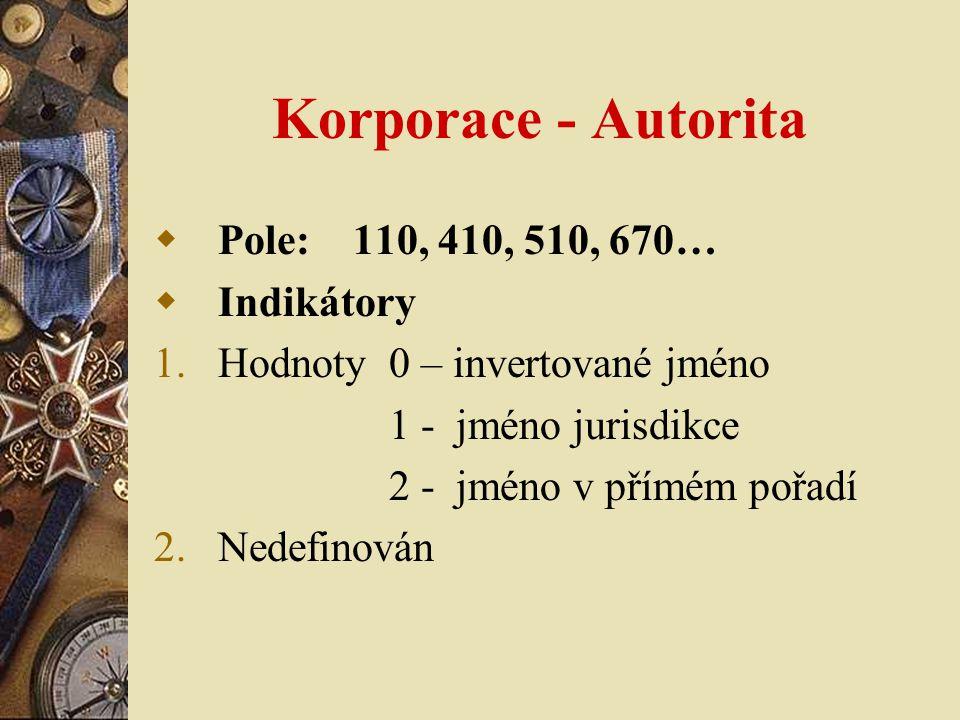 Korporace - Autorita  Pole: 110, 410, 510, 670…  Indikátory 1.Hodnoty 0 – invertované jméno 1 - jméno jurisdikce 2 - jméno v přímém pořadí 2.Nedefinován