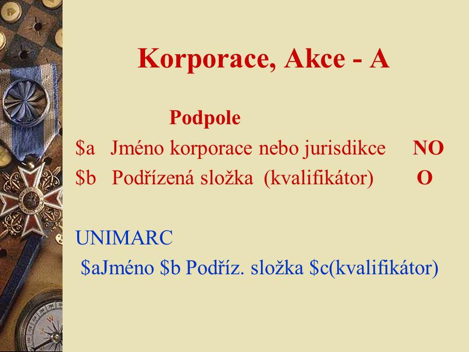 Korporace, Akce - A Podpole $a Jméno korporace nebo jurisdikce NO $b Podřízená složka (kvalifikátor) O UNIMARC $aJméno $b Podříz.