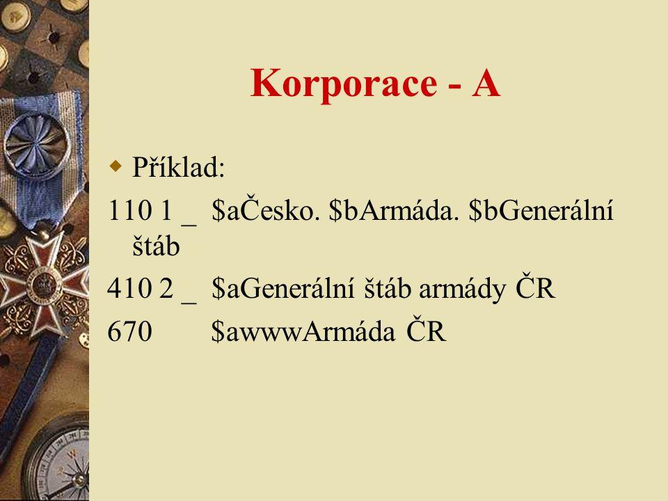 Korporace - A  Příklad: 110 1 _ $aČesko.$bArmáda.