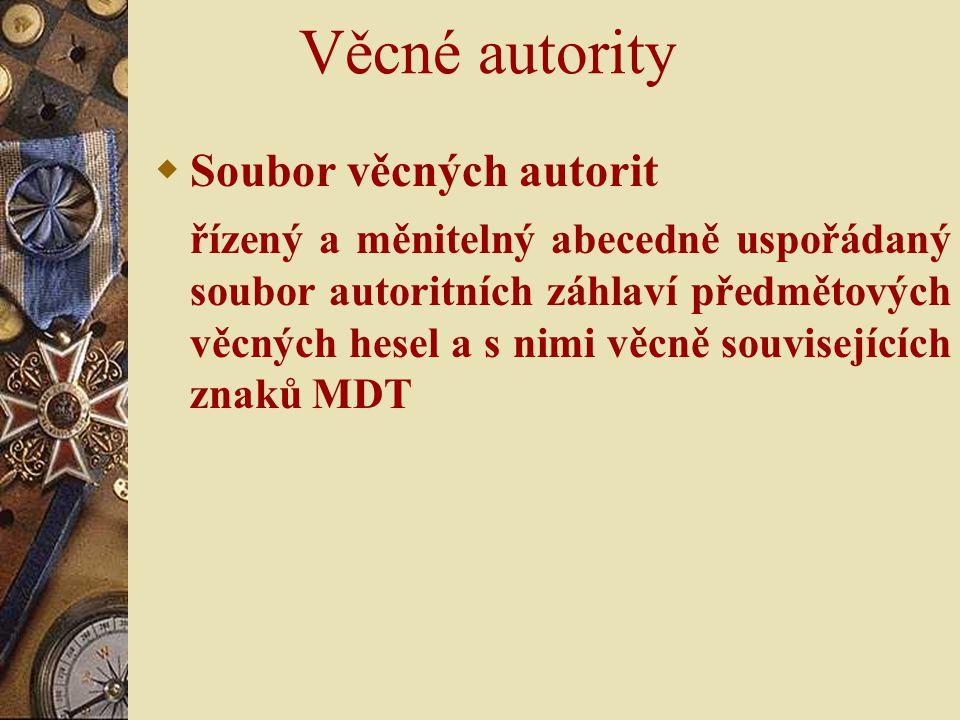 Věcné autority  Soubor věcných autorit řízený a měnitelný abecedně uspořádaný soubor autoritních záhlaví předmětových věcných hesel a s nimi věcně so
