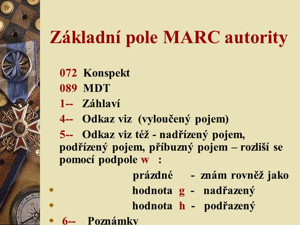 Základní pole MARC autority 072 Konspekt 089 MDT 1-- Záhlaví 4-- Odkaz viz (vyloučený pojem) 5-- Odkaz viz též - nadřízený pojem, podřízený pojem, příbuzný pojem – rozliší se pomocí podpole w : prázdné - znám rovněž jako  hodnota g - nadřazený  hodnota h - podřazený  6-- Poznámky