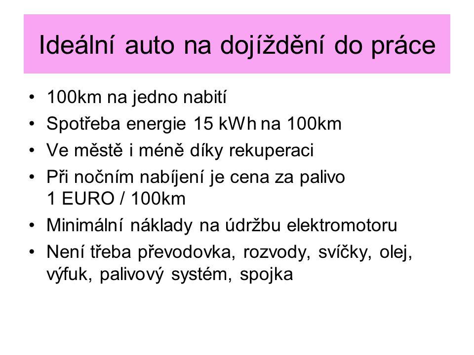 Ideální auto na dojíždění do práce 100km na jedno nabití Spotřeba energie 15 kWh na 100km Ve městě i méně díky rekuperaci Při nočním nabíjení je cena