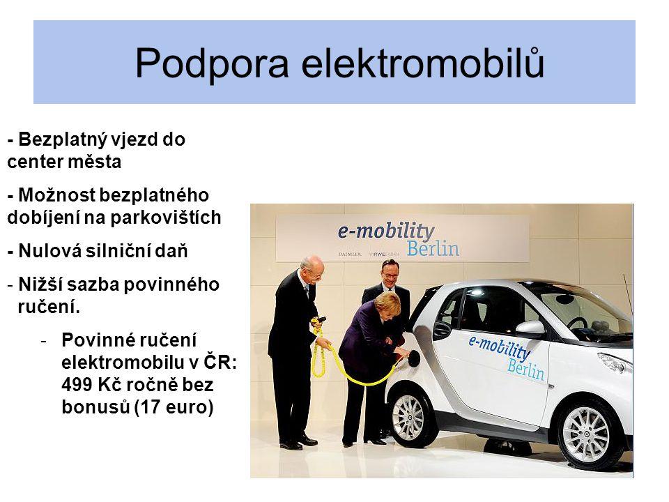 Podpora elektromobilů - Bezplatný vjezd do center města - Možnost bezplatného dobíjení na parkovištích - Nulová silniční daň - - Nižší sazba povinného