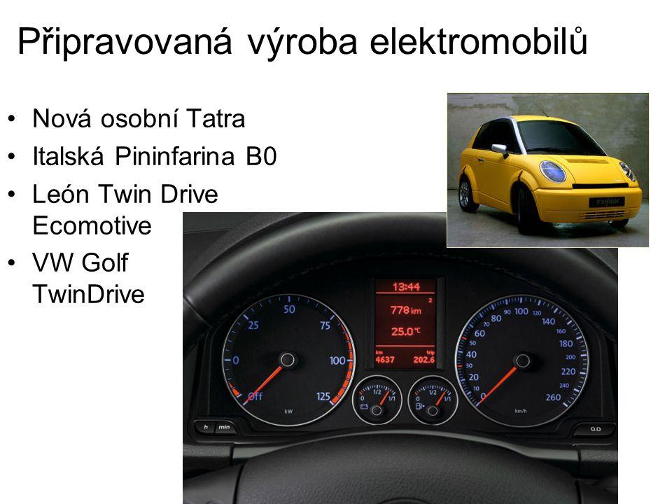 Připravovaná výroba elektromobilů Nová osobní Tatra Italská Pininfarina B0 León Twin Drive Ecomotive VW Golf TwinDrive
