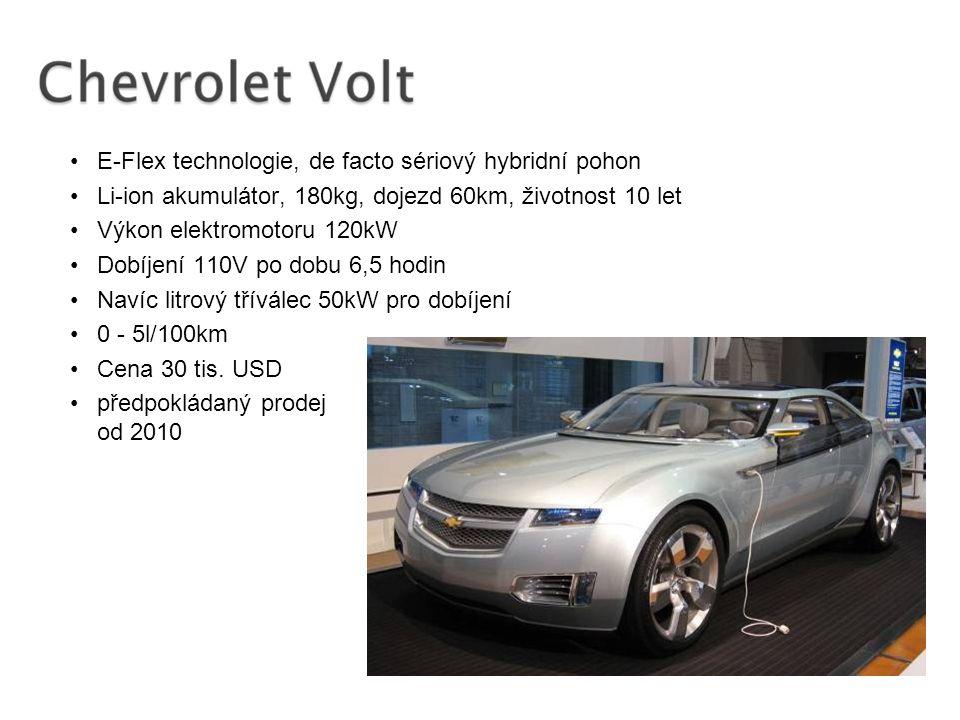 E-Flex technologie, de facto sériový hybridní pohon Li-ion akumulátor, 180kg, dojezd 60km, životnost 10 let Výkon elektromotoru 120kW Dobíjení 110V po