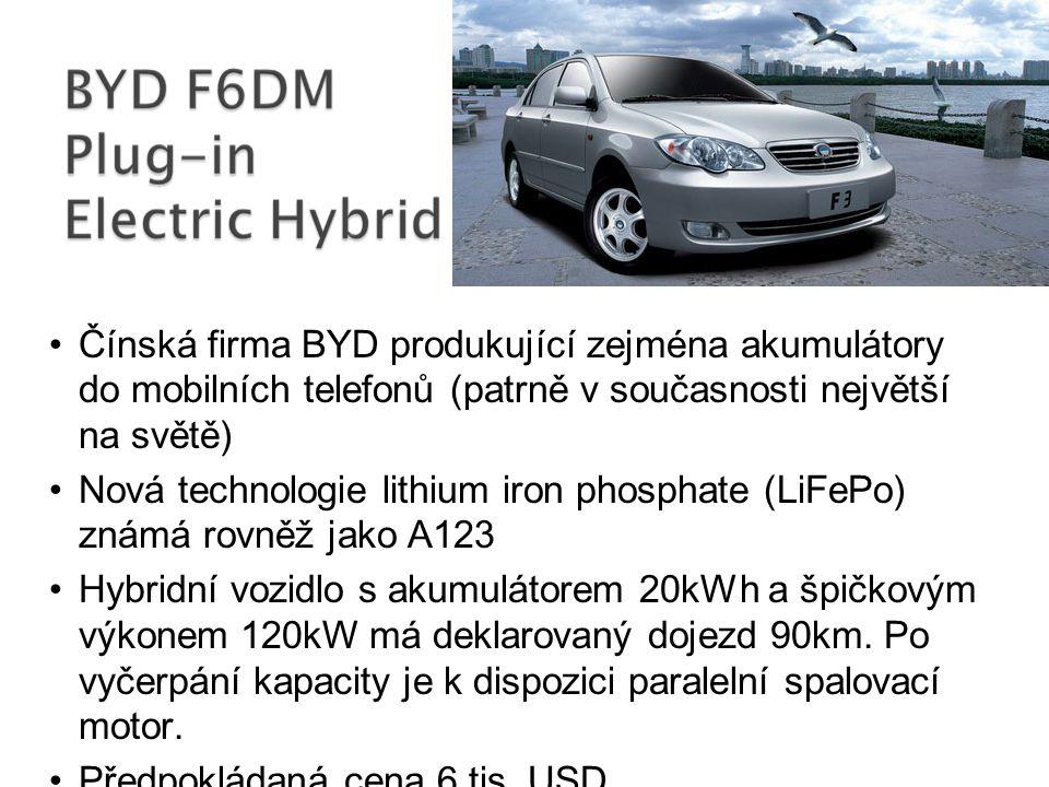 Čínská firma BYD produkující zejména akumulátory do mobilních telefonů (patrně v současnosti největší na světě) Nová technologie lithium iron phosphat