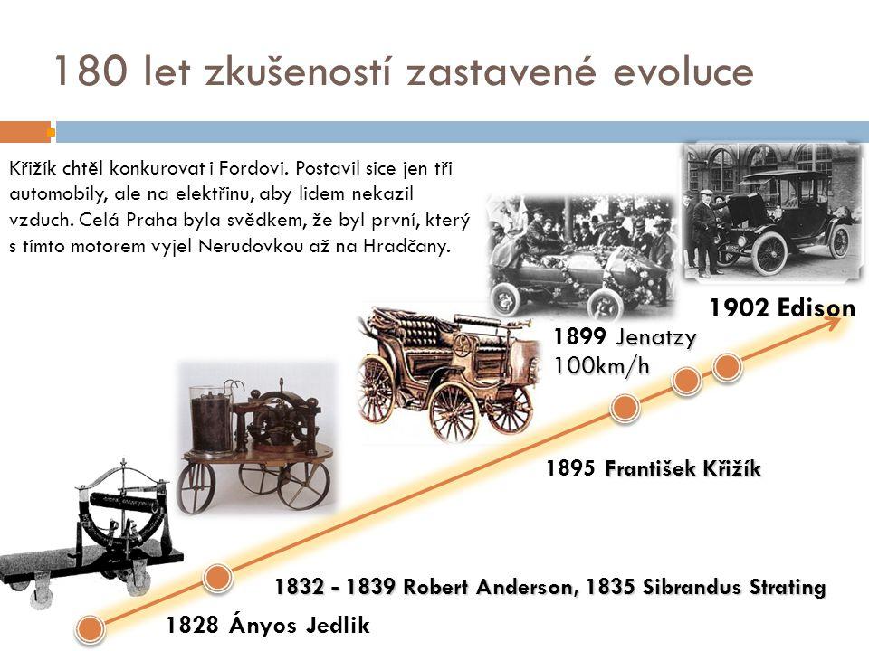 180 let zkušeností zastavené evoluce 1828 Ányos Jedlik František Křižík 1895 František Křižík 1832 - 1839 Robert Anderson, 1835 Sibrandus Strating 1902 Edison Křižík chtěl konkurovat i Fordovi.
