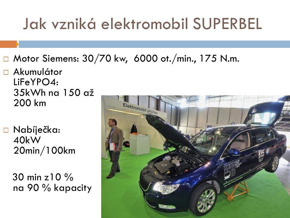 Jak vzniká elektromobil SUPERBEL  Motor Siemens: 30/70 kw, 6000 ot./min., 175 N.m.