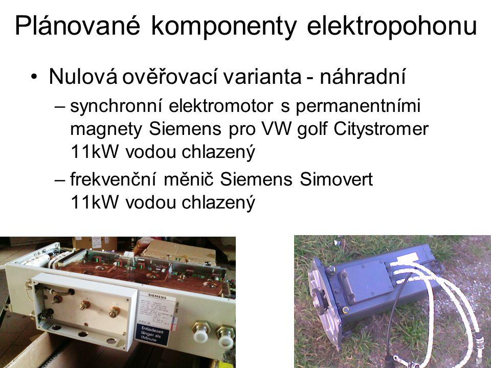 Plánované komponenty elektropohonu Nulová ověřovací varianta - náhradní –synchronní elektromotor s permanentními magnety Siemens pro VW golf Citystromer 11kW vodou chlazený –frekvenční měnič Siemens Simovert 11kW vodou chlazený