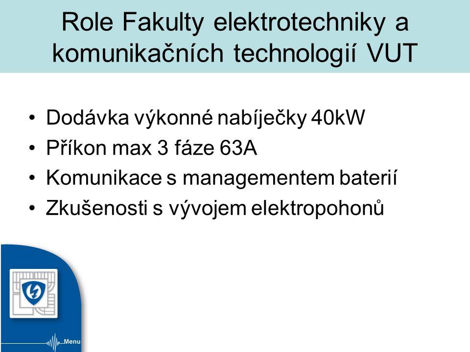 Role Fakulty elektrotechniky a komunikačních technologií VUT Dodávka výkonné nabíječky 40kW Příkon max 3 fáze 63A Komunikace s managementem baterií Zkušenosti s vývojem elektropohonů