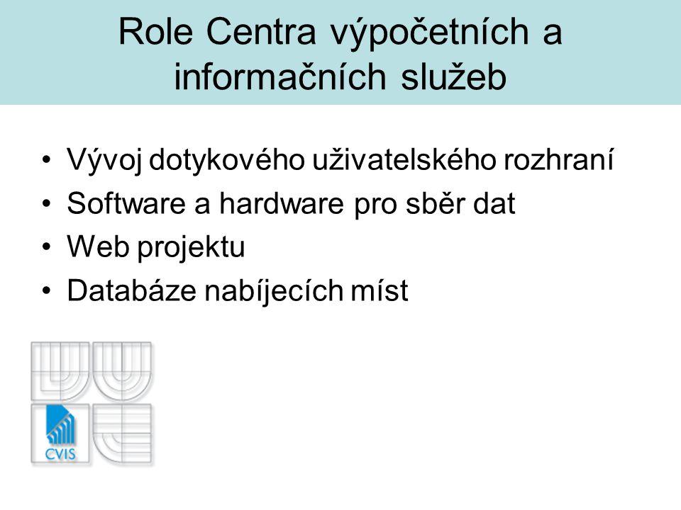 Role Centra výpočetních a informačních služeb Vývoj dotykového uživatelského rozhraní Software a hardware pro sběr dat Web projektu Databáze nabíjecích míst