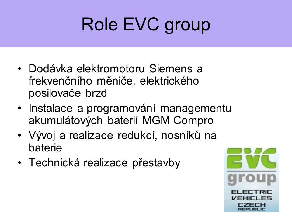 Role EVC group Dodávka elektromotoru Siemens a frekvenčního měniče, elektrického posilovače brzd Instalace a programování managementu akumulátových baterií MGM Compro Vývoj a realizace redukcí, nosníků na baterie Technická realizace přestavby