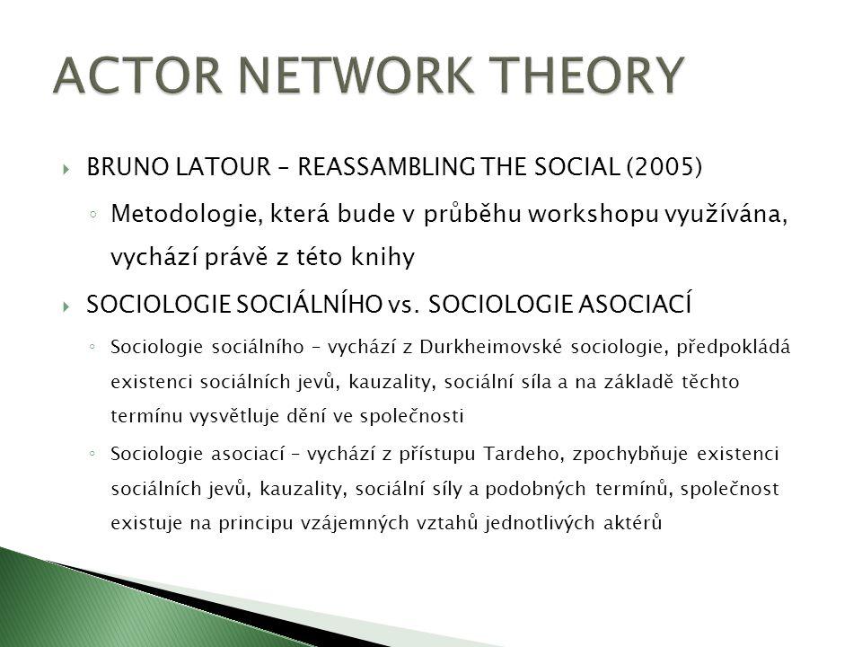  BRUNO LATOUR – REASSAMBLING THE SOCIAL (2005) ◦ Metodologie, která bude v průběhu workshopu využívána, vychází právě z této knihy  SOCIOLOGIE SOCIÁ