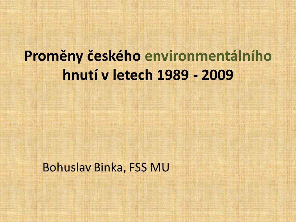 Proměny českého environmentálního hnutí v letech 1989 - 2009 Bohuslav Binka, FSS MU