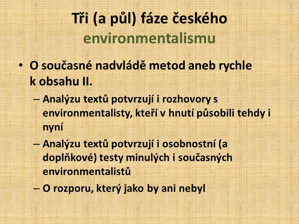 Tři (a půl) fáze českého environmentalismu O současné nadvládě metod aneb rychle k obsahu II. – Analýzu textů potvrzují i rozhovory s environmentalist