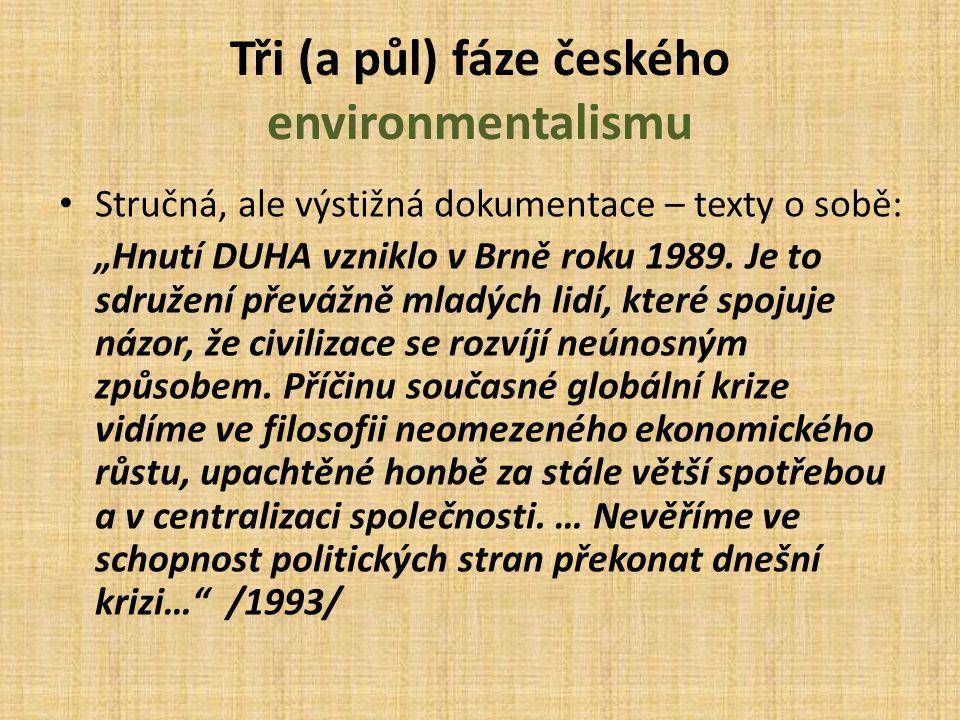"""Tři (a půl) fáze českého environmentalismu Stručná, ale výstižná dokumentace – texty o sobě: """"Hnutí Duha je přesvědčeno, že česká veřejnost může mít zdravější a čístější prostředí, stejně jako naši evropští sousedé."""
